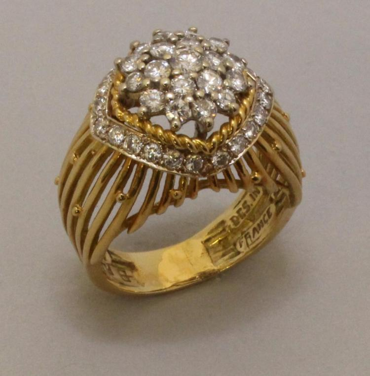 Gold Ring with Platinum and Diamonds