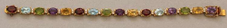 Gold Bracelet with Multi-Gemstones and Diamonds