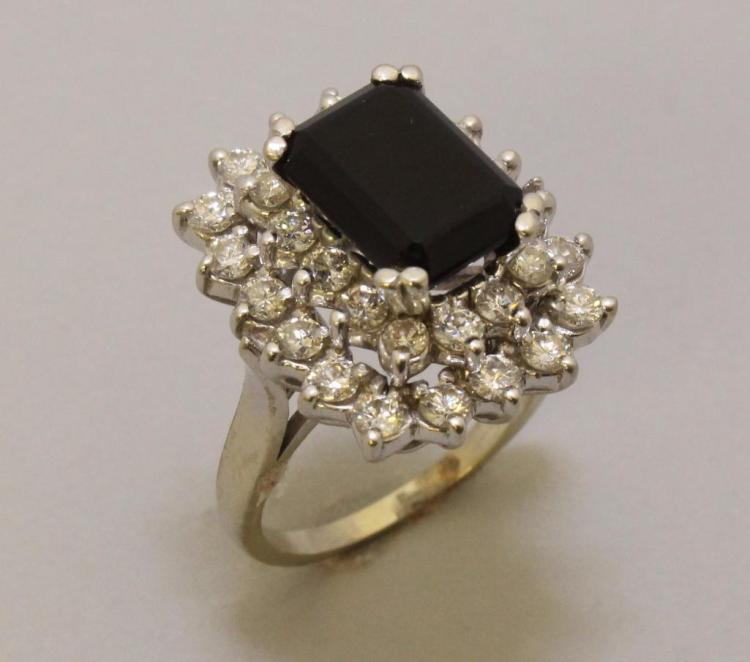 Gold Ring with Onyx and Diamond