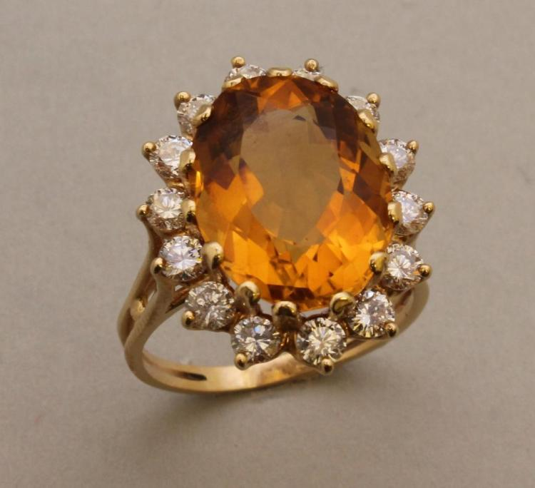 Gold Ring with Citrine and Diamond