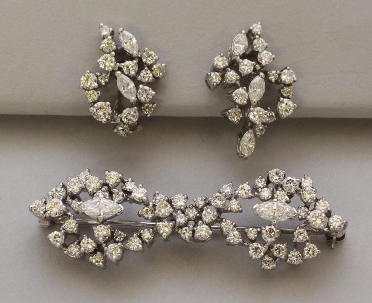 Gold with Diamonds Brooch and Earrings Set