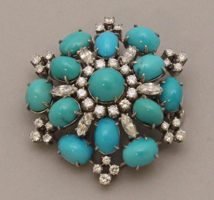 Gold Brooch with Turquoise and Diamond