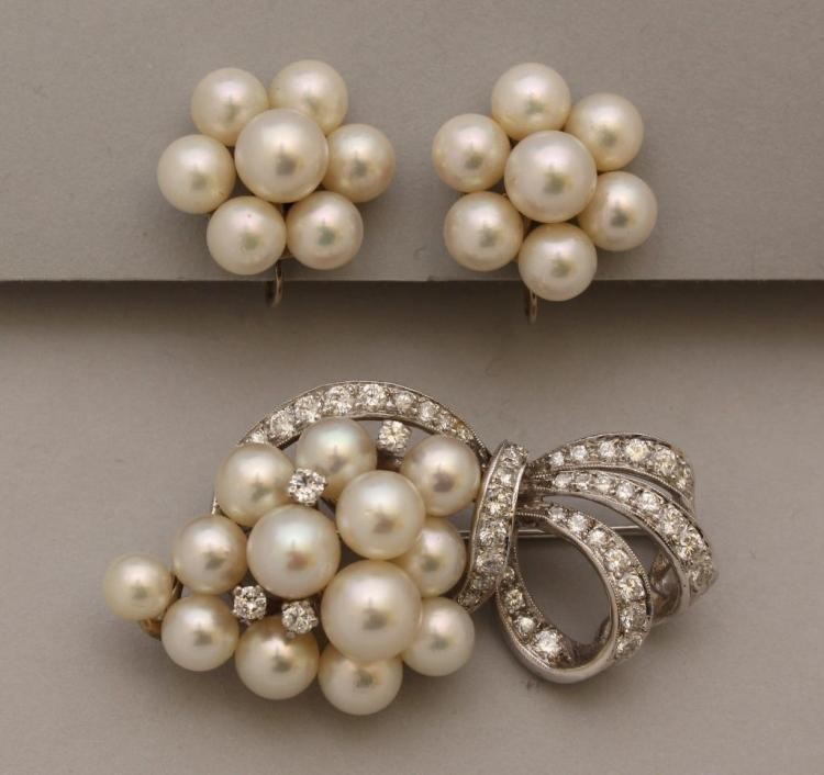 Rhodium Plated Gold Brooch with Pearl and Diamond, Complementary Gold Earrings with Pearl