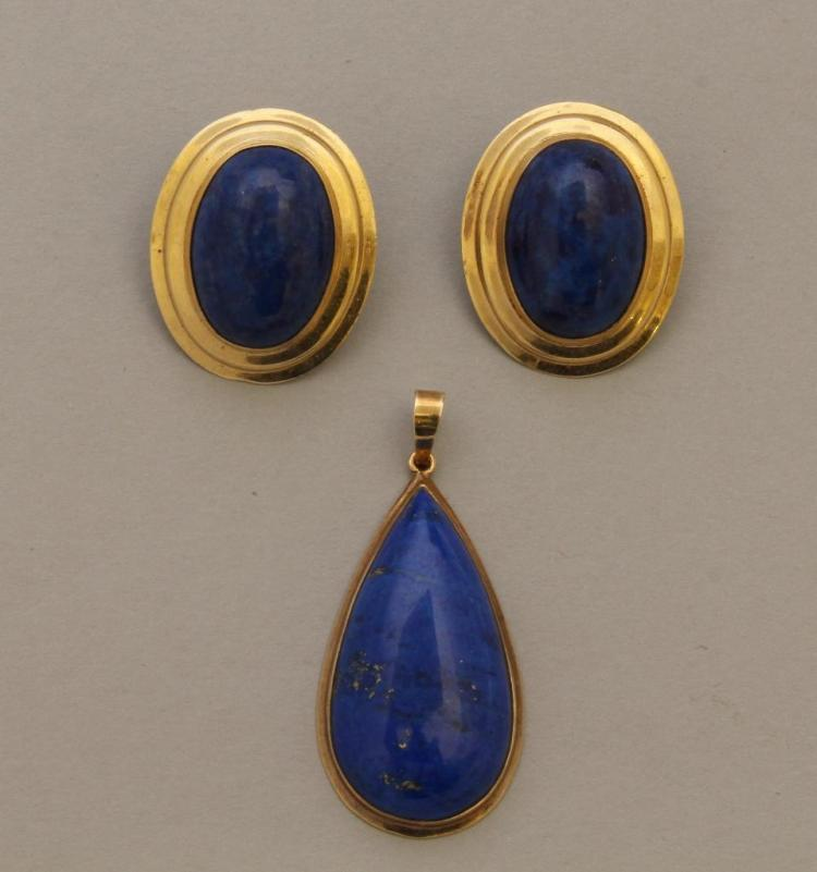 Gold Pendant and Earrings with Lapis