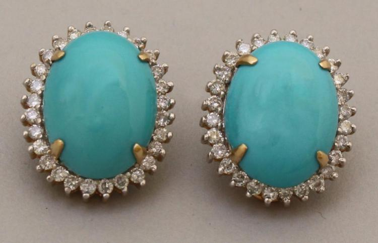 Gold Earrings with Turquoise and Diamond