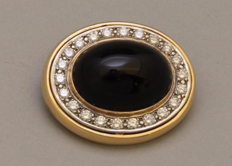 Gold Brooch with Onyx and Diamond