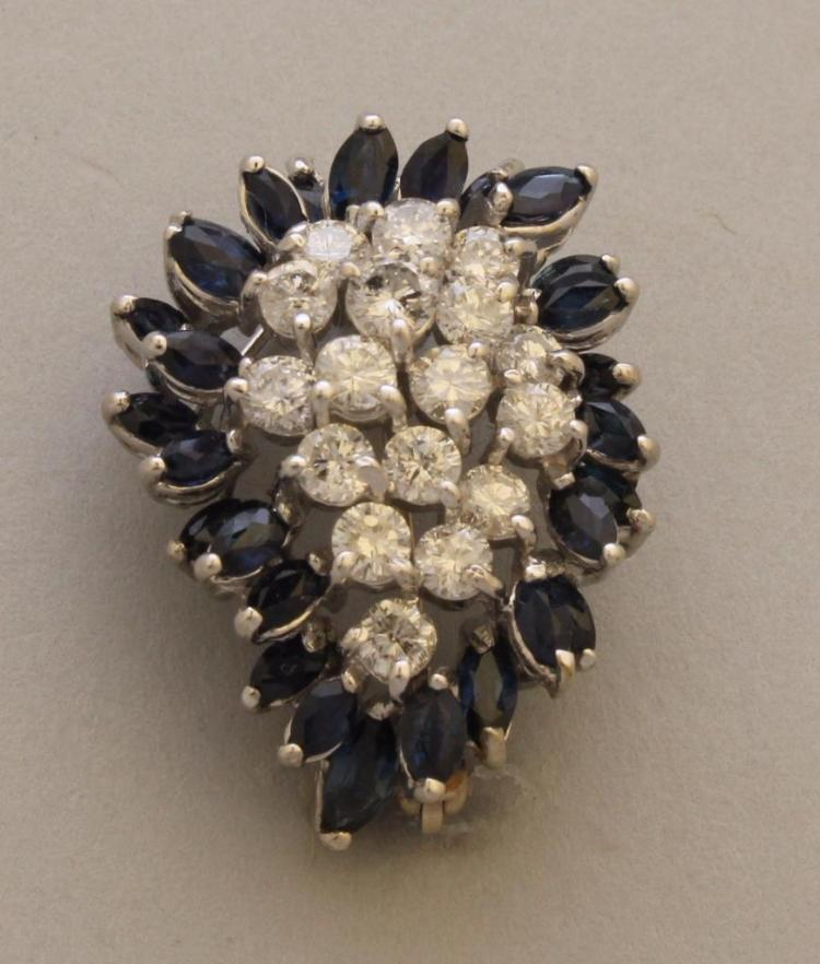 Gold Pin/Pendant with Sapphire and Diamond