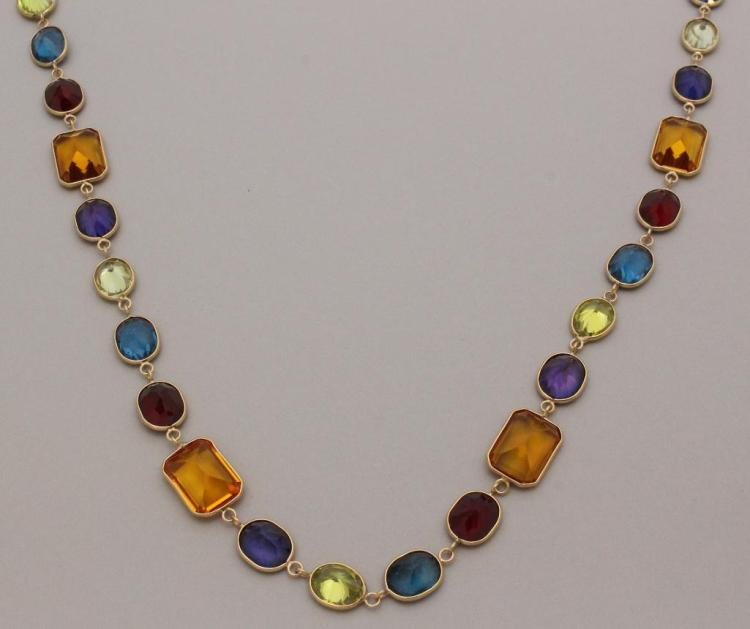 Gold Necklace with Faceted Stones