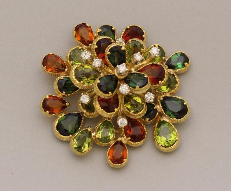 Gold Pin with Tourmaline, Citrine, Peridot and Diamond