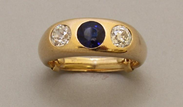 Gold Ring with Diamond and Synthetic Sapphire