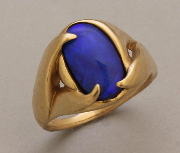 Gold Ring with Black Opal