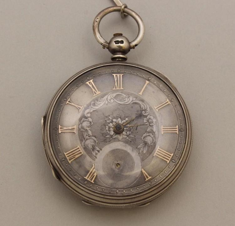 English Sterling Silver Open Face Pocket Watch
