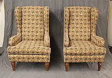 2 Palm Tree Tapestry Wing Chairs with Brass Nail Heads and Cherry Legs, 47