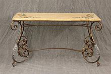 Bronze Colored Metal Console with Faux Finished Top, Hand Painted with Fruit and Vines, 30 1/2