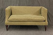 Love Seat in a Green Stria Chenille, Tight Back, Loose Bench Seat, Cherry Legs, 32 1/2