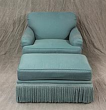 2 Piece Set, (1) Chair with a Teal Green Woven Key Pattern with Matching Fringe  35