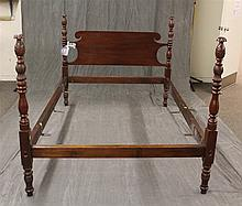 Carved Four Poster Bed with Side Rails, 4'H x 7'L x 4'8