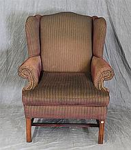 Alexvale Chippendale Style Wing Chair, Red Striped Upholstry with Nail Heads, 43 1/2