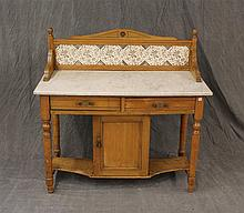 English Server with a Mable Top and Tile Floral Design Backsplash, Loose Door, Some Nicks, 39