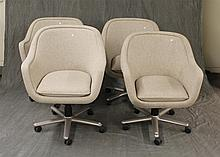 Set of 4 Grey Upholstered Castor Office Chairs, 36
