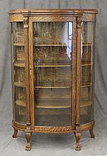 Glass Front Oak Curio Cabinet with 4 Shelves 65 1/2