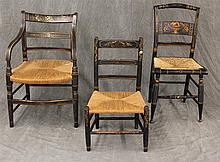 Set of 3 Chairs, Wood with Wicker Seats and Hand Painted Designs, (1) Arm Chair 30 1/2