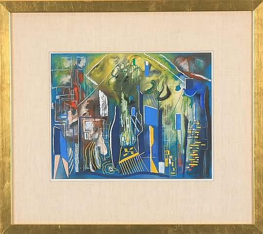 Joseph Meierhans Modernist composition, gouache,