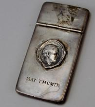 Business Card Holder. Sterling Silver. May 7 MCMIX. Etched Autographs. Samuel Clemens aka Mark Twain