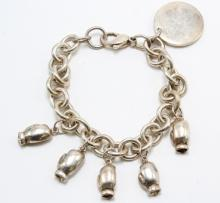 Tiffany & Co., AC. Charm Bracelet with Charms. Sterling Silver. Boxing Gloves