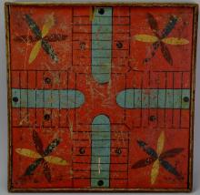 Double Sided Parcheesi and Checkers Game Board