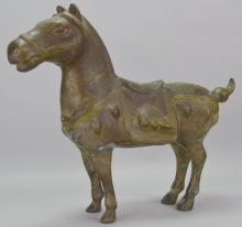Chinese Paint Decorated Bronze Horse