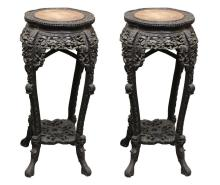 Pair of Ornate Carved Chinese Rosewood Ebonized Plant Stands