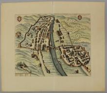 18th Century Birds Eye View of Pescia, Italy