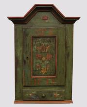 Paint Decorated Hanging Wall Cabinet