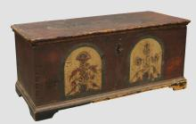 Attributed to Johann Rank Lebanon County Pennsylvania Paint Decorated Dower Chest
