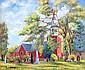 Louis Wolchonok Church scene with figures, Louis Wolchonok, Click for value