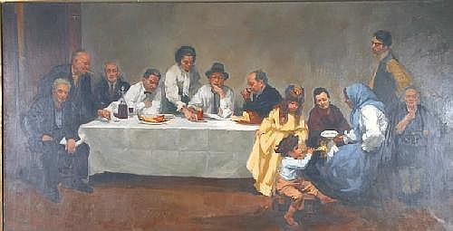 Harvey Dinnerstein Panoramic scene of Jewish