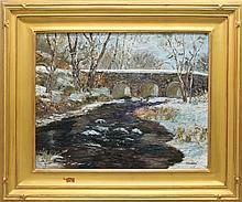 "Don F. Kaiser (b.1958, Pennsylvania) ""Bridge in Winter"""