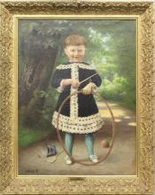 Arsene Sauvage (19th c., France) Young Girl with Toys