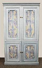 Amoire, Bluewash, Two Piece, Two Floral Carved Curtained Panel Doors over Two Floral Carved Curtained Doors Wood Shelving Throughout...