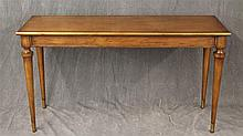 Sofa Table, Walnut, Brass Molded Rectangular Top, Paneled Sides on Tapered Legs with Brass Caps, 26 1/2
