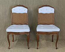 Pair of Louis XV Style Side Chairs, Mahogany, Carved Crest, Cane and Blue Padded Backs, Cane and Blue Padded Seats, Carved and Scrol...