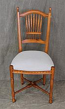 Ethan Allen Side Chair, Arched Crest, Foliate Splat, Blue and Cream Checkered Upholstered Seat on Reeded and Turned Legs, 40