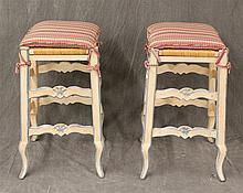 Pair of Country French Stools, Painted Blue and White, Rush and Padded Seats on Cabriole Legs, 26