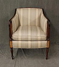 Library Chair, Mahogany, Striped Upholstery with Damask Sides, Rolled Fluted Arms on Fluted Turned Legs, 34