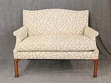 Edward Ferrell Country Chippendale Settee, Serpentine Back with Cream Foliate Upholstery on Straight Legs, 39