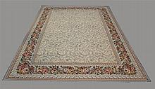 Tapestry Rug, Repeating Center Design in a Cream Field with a Floral Main Border, 14'L  x 9' 11