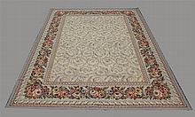 Tapestry Rug, Repeating Center Design in a Cream Field with a Floral Main Border, 12'L x 8' 11