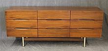 American of Martinsville, Mid-Century Modern Dresser, Walnut, Nine Drawers, 29 1/2