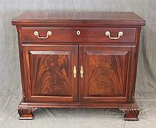 Thomasville, Side Bar, Mahogany, Fold Out Bar over Two Doors on Carved Bracket Feet with Casters, (One Caster is Loose from Frame, M...